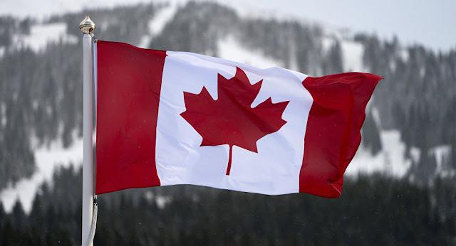 Ormanlı ve karlı dağlar önünde yakın çekim Kanada bayrağı