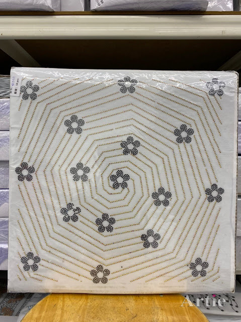 Hotfix stickers dmc rhinestone aplikasi tudung bawal fabrik pakaian sarang labah-labah dgn bunga silver gold