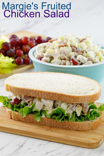 This chicken salad is the perfect mix of sweet and savory, creamy and crunchy. The addition of fruit and the simple dressing bring it all together to make a versatile and delicious sandwich filling, cracker topper and more.