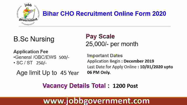 Bihar CHO Recruitment Online Form 2020