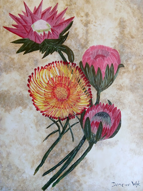 proteas acrylic painting