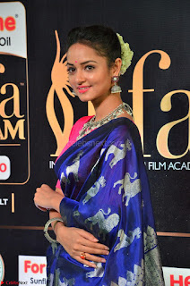 Shanvi Looks Super Cute in Pink Backless Choli Blue Saree at IIFA Utsavam Awards 2017 17.JPG