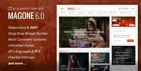 Free Download magone V6.0.3 Responsive news and magazine blogger template
