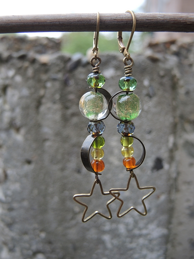 DIY oorbellen/earrings 'lente in Kreta'
