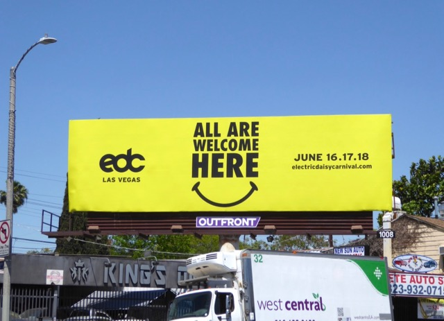 EDC Vegas All welcome here billboard