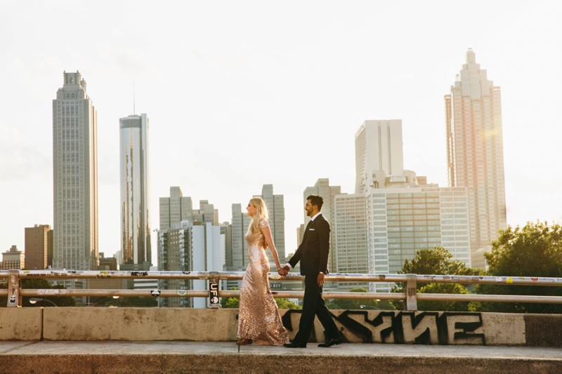 atlanta skyline during the engagement session