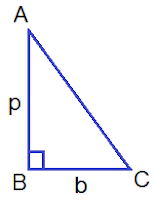 Area of right angled ΔABC = ½ × b × p