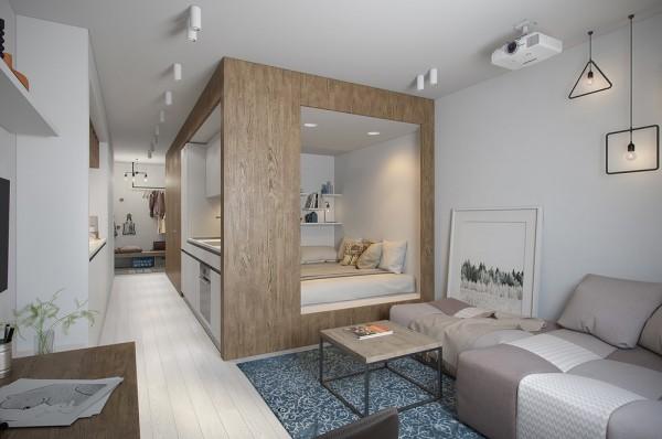 квартира студия со спальней и гостиной