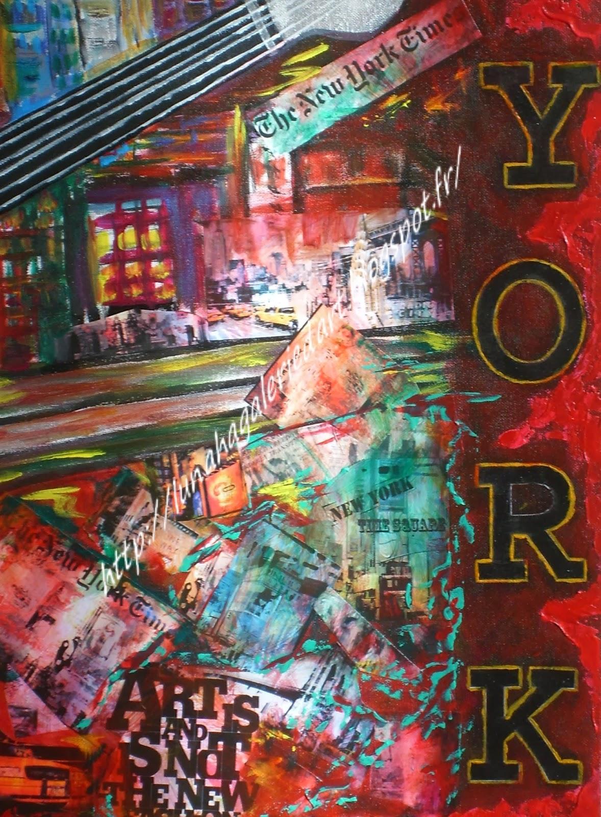 Lunaha Galerie Artiste Peintre New York Technique Mixte Travail