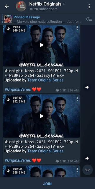 Netflix originals channel on Telegram