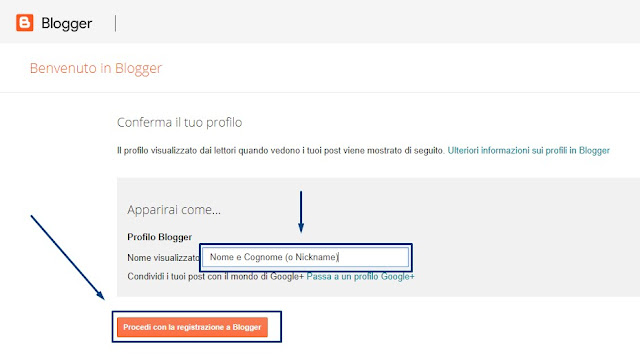 Come ritornare blog Blogspot  passare profilo Blogger personale da profilo Google+ nome visualizzato