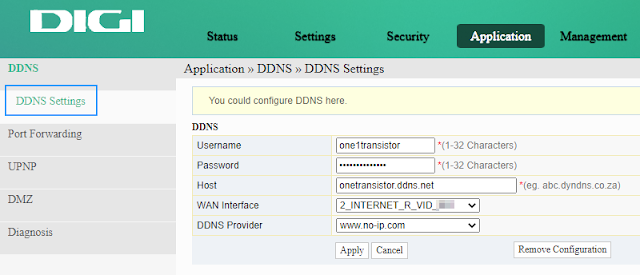 Configure Dynamic DNS in router interface