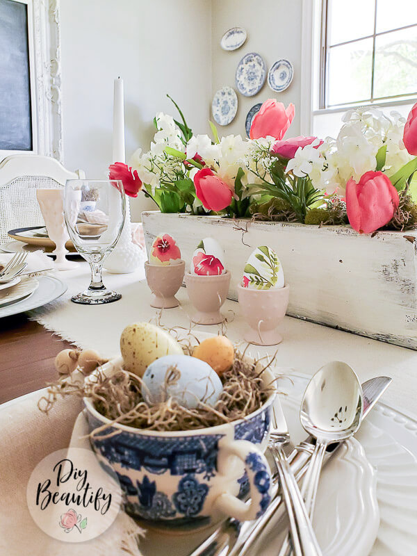 spring table with cottage floral eggs