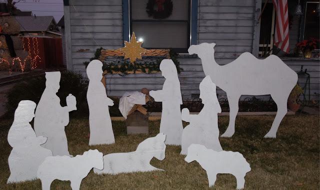 Outdoor White Nativity Scene