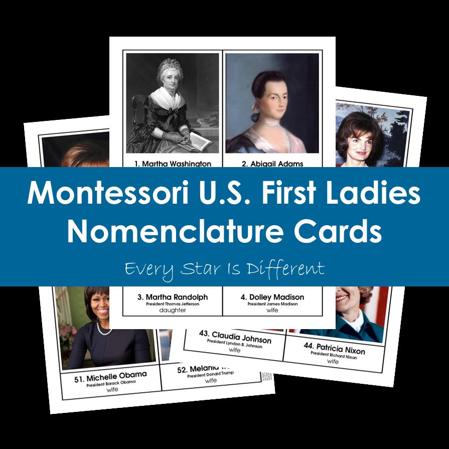 United States First Ladies Nomenclature Cards