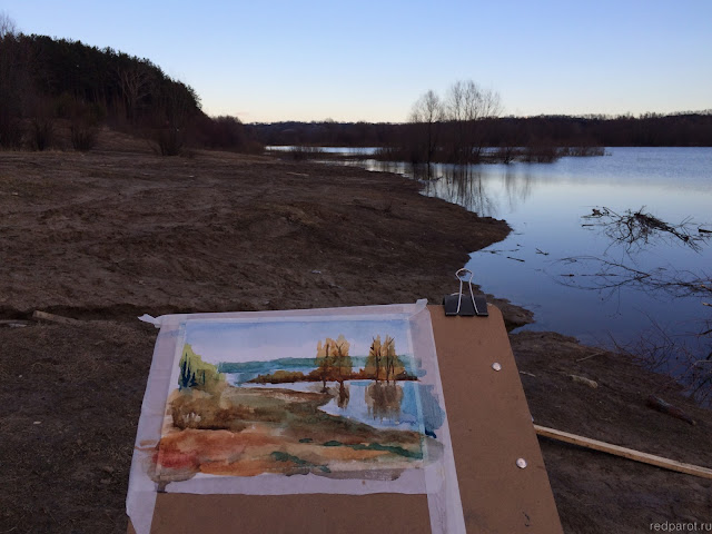 Oka river, spring, Strigino pine forest, watercolor plein air