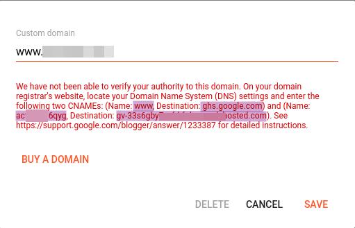 Warnings to setup custom domain to blogger