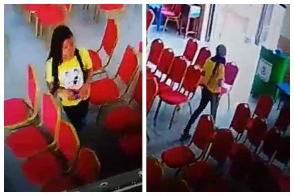 Slay queen caught on CCTV stealing a phone inside church (Video)