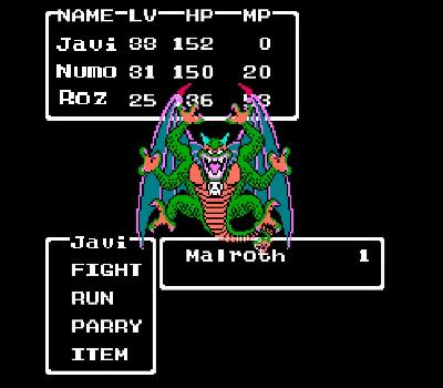 Dragon Warrior II - Final boss Malroth
