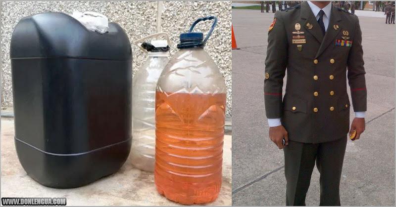 Un Capitán del ejército detenido por llevar potes con 32 litros de gasolina dentro del carro
