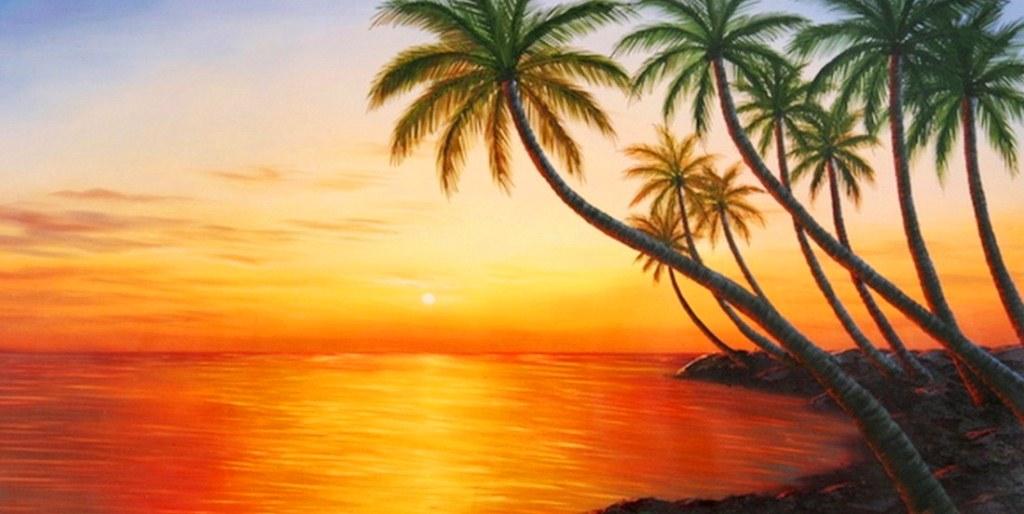 Atardecer En La Playa Para Colorear