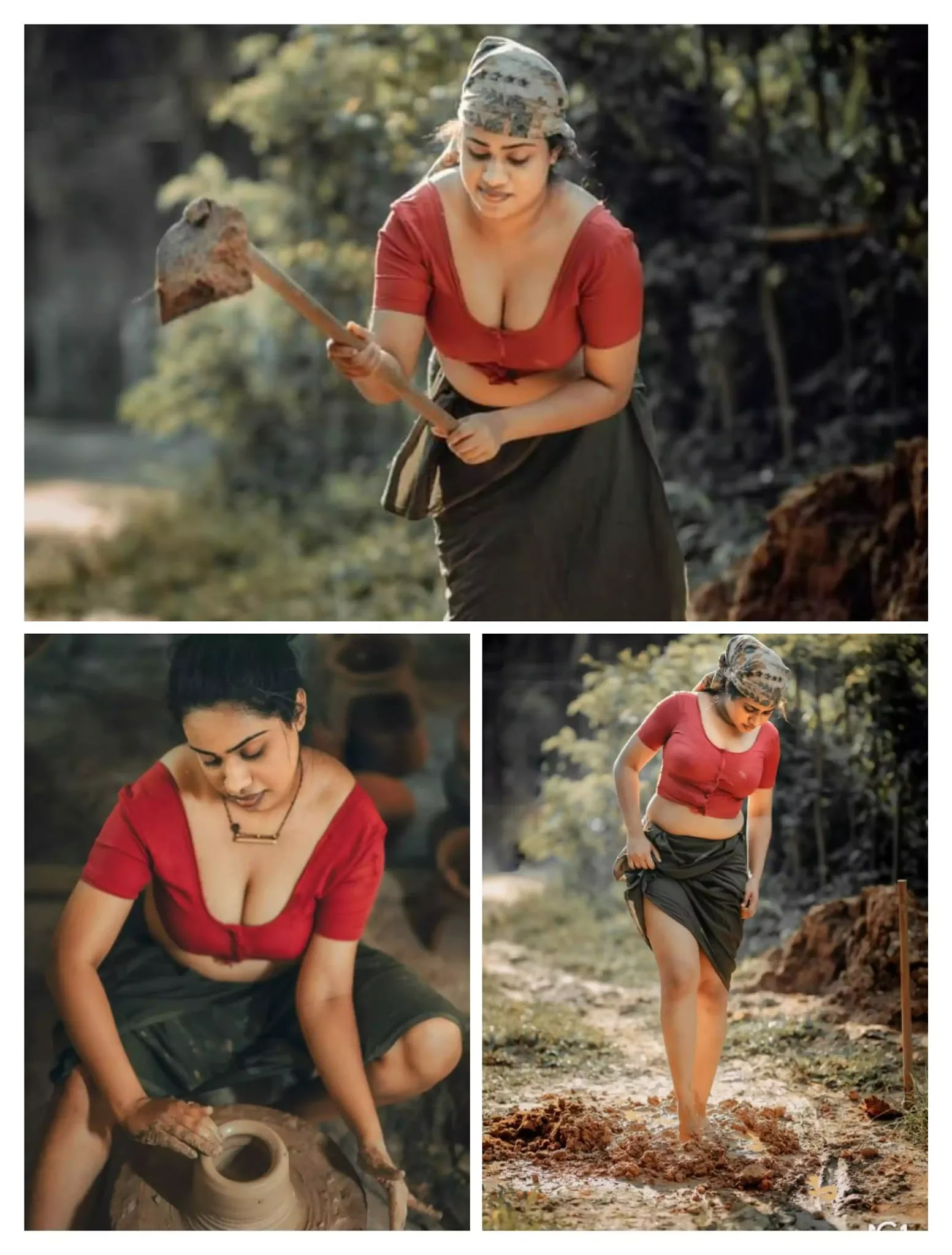 Hot village girl in red blouse with black lungi