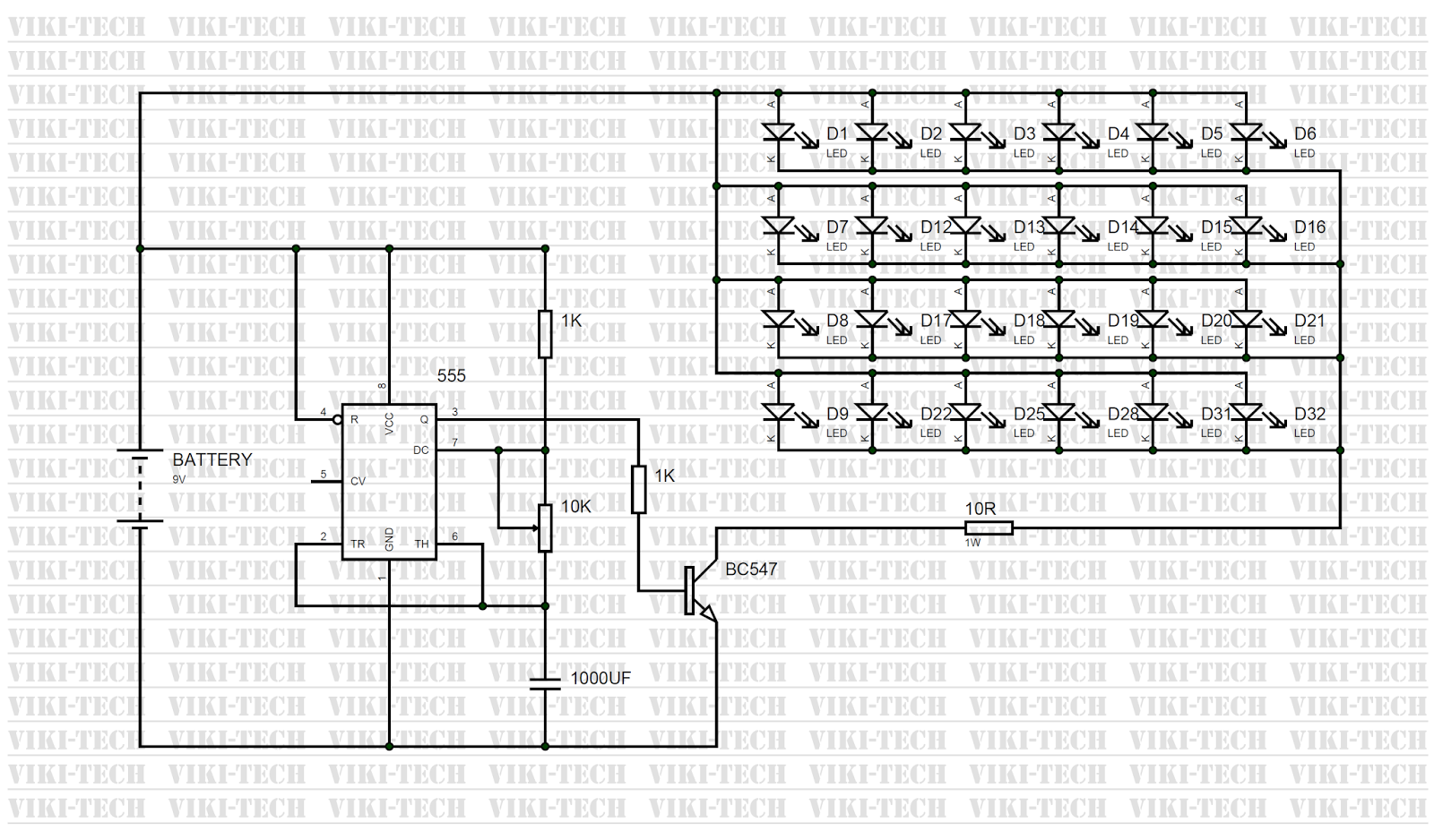 10 watt led driver circuit diagram 3 phase contactor wiring 3x3x3 cube using 555 timer