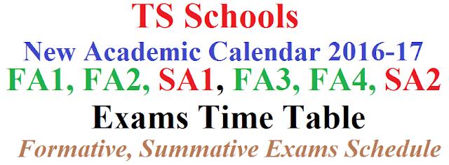 FA1,FA2,SA1,FA3,FA4,SA2 Exam Time Table 2016-2017 for TS Schools