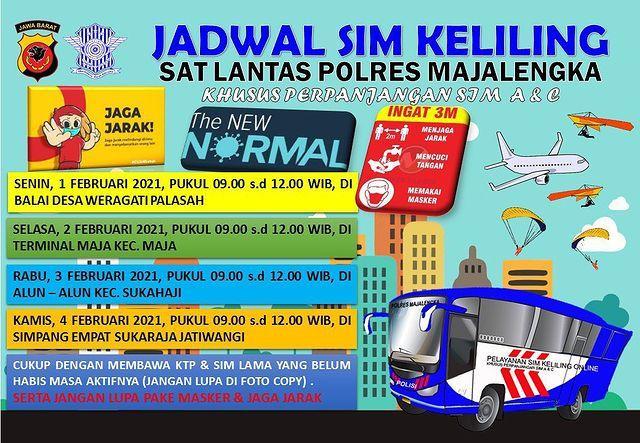 Jadwal SIM keliling Majalengka Februari 2021 - igsatlantasmjlk