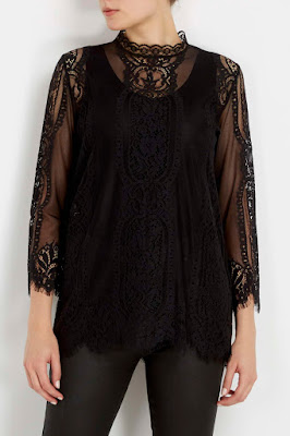 Wallis Black High Neck Lace Shell Top