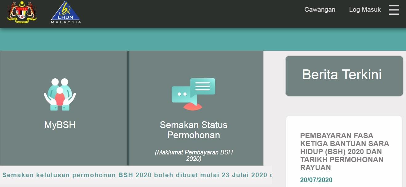 tarikh semakan status kelulusan permohonan bsh 2020