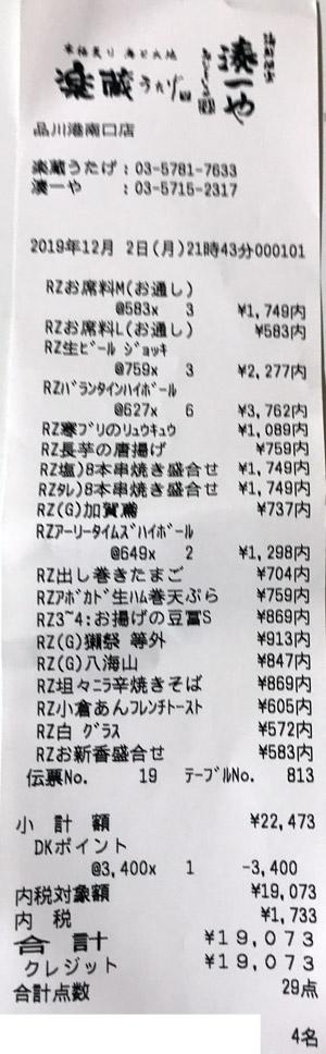 楽蔵うたげ 品川港南口店 2019/12/2 飲食のレシート