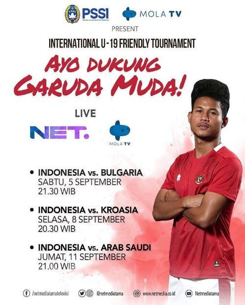 Jadwal Siaran Langsung Timnas Indonesia U-19  TC Kroasia