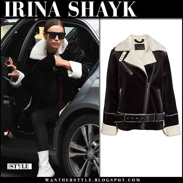 Irina Shayk in black velvet shearling jacket blanknyc and white boots stuart weitzman clingy winter fashion december 5