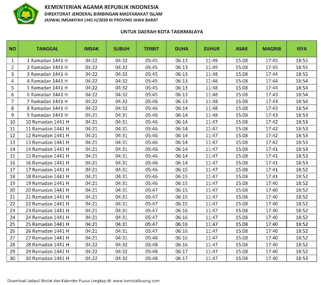 jadwal imsakiyah ramadhan buka puasa Kota Tasikmalaya 2020 m 1441 h tomatalikuang.com