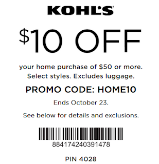 Kohls coupon $10 off $50 Home purchase oct 23