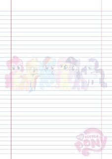 Folha Papel Pautado My Little Poney em PDF para imprimir na folha A4