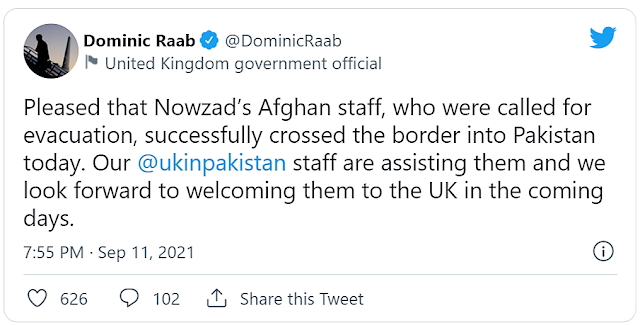 Nowzad staff escape Afghanistan to the British High Commission in Islamabad, Pakistan