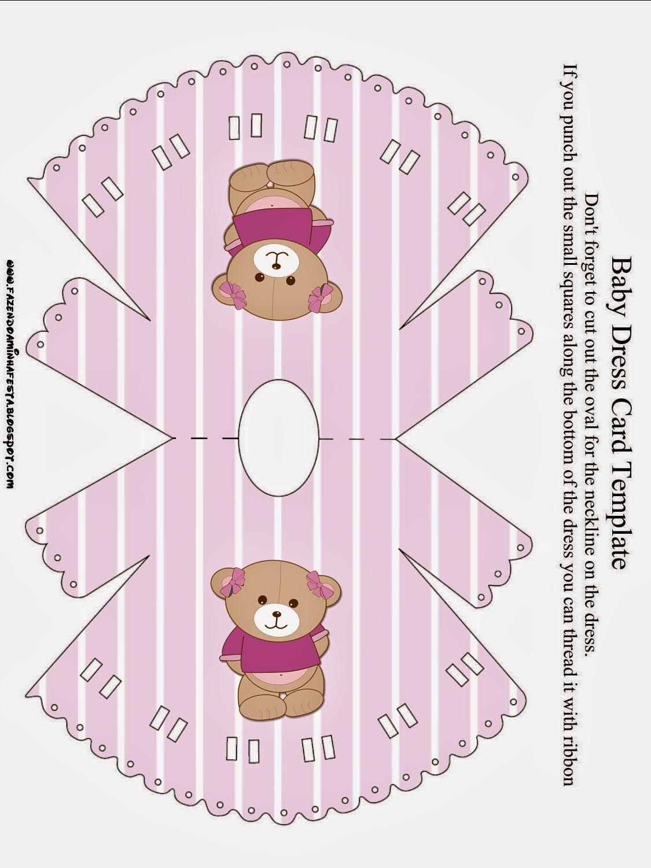 Invitación en forma de camisón de Osita en Fondo Lila.