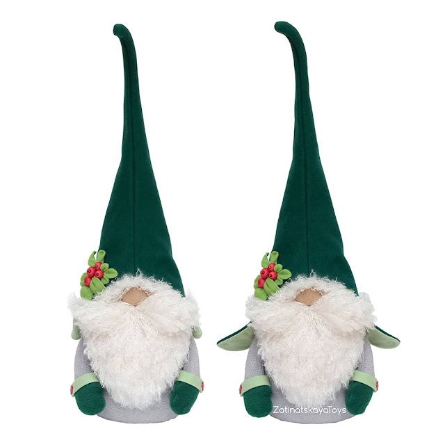 two gray and green Christmas gnomes with hats and mittens by sewing patterns of Zatinatskaya Natalia