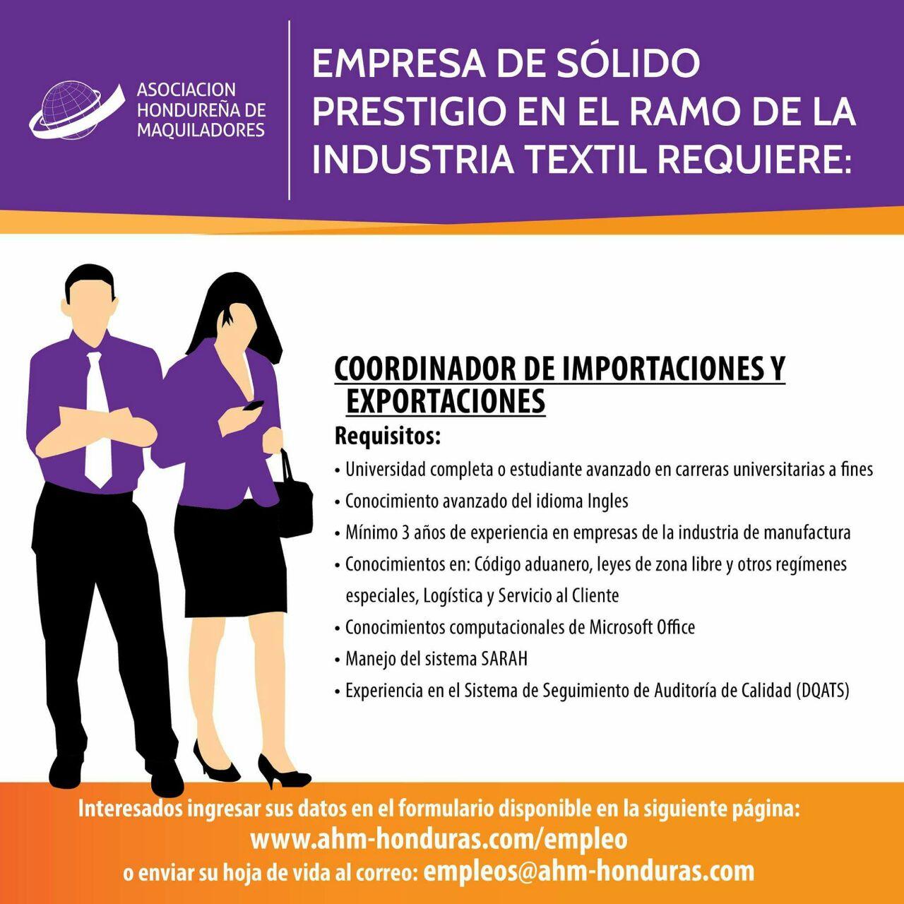 Coordinador de Importaciones y Exportaciones - San Pedro Sula ...