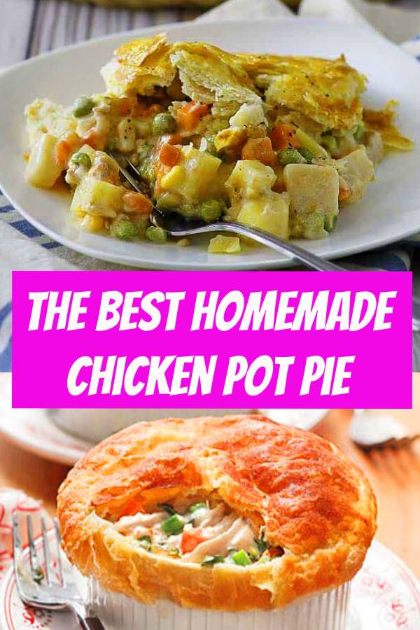 The BEST Homemade Chicken Pot Pie | When you need comfort food for a crowd, look no further than this classic chicken pot pie. Layers of diced veggies and shredded chicken are topped with a delicious homemade crust to ensure that each forkful delivers full-on flavor. #chicken #potpie #pie #comfortfood
