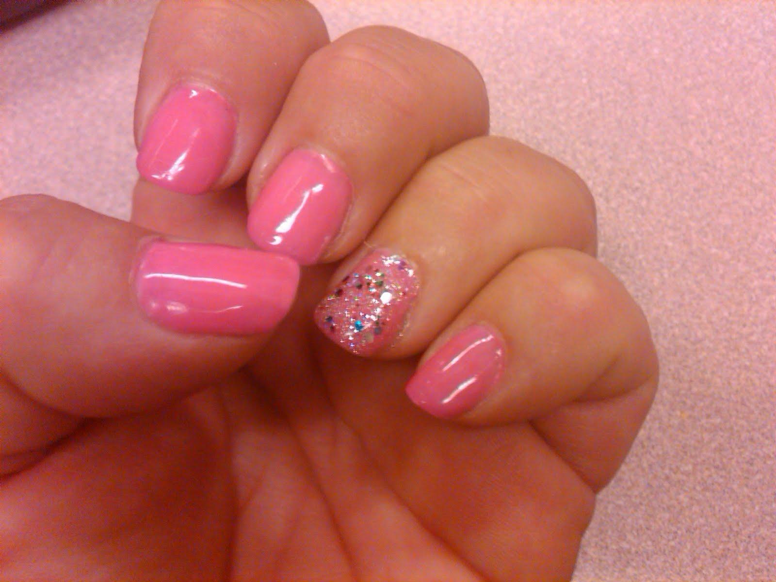 Hot Pink Short Gel Nails Labzada T Shirt