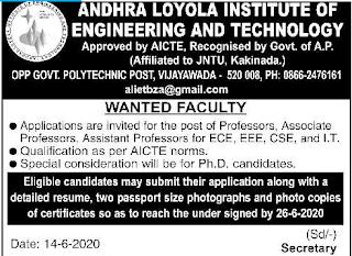 Vijayawada Andhra Loyola Institute of Engineering and Technology Assistant Professor, Associate Professor Faculty Jobs 2020
