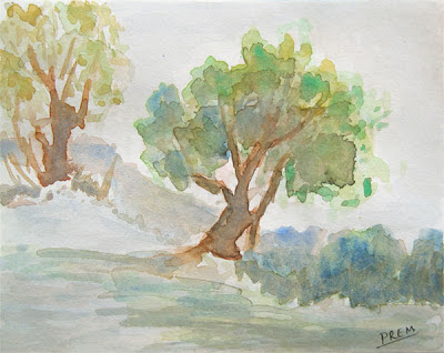 Trees Landscape painted Freehand