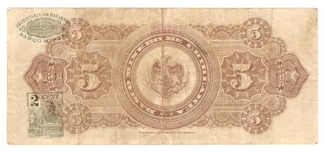 Billetes Mexicanos 5 pesos Banco Minero de Chihuahua