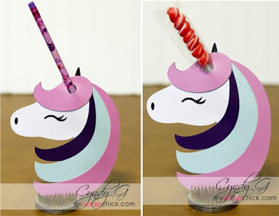 Unicorn valentine that holds a pencil