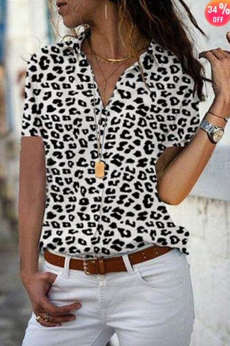 Turn Down Collar Printed Blouses-Price:$20.99