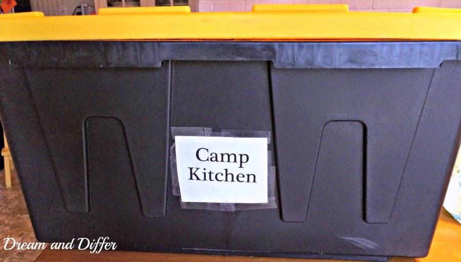 Dream And Differ Organized Camp Kitchen In A Plastic Tote