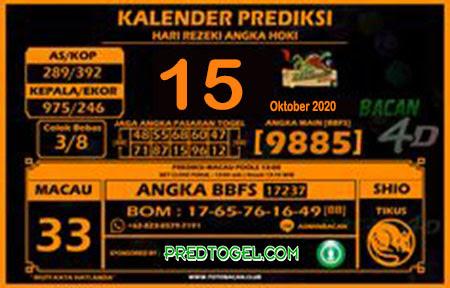 Kalender Prediksi Bacan4D Macau Kamis 15 Oktober 2020
